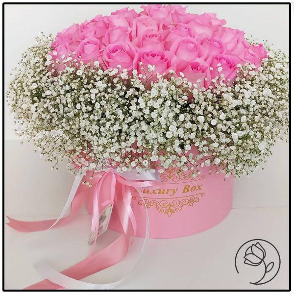 باکس گل رز صورتی و عروس